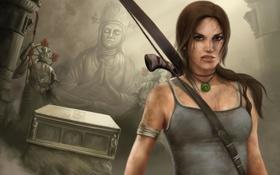 Картинка лук, храм, Tomb Raider, Лара Крофт, Lara Croft