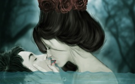 Картинка вода, девушка, цветы, пузырьки, лицо, волосы, поцелуй