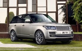 Картинка трава, фон, серебристый, джип, внедорожник, Land Rover, Range Rover