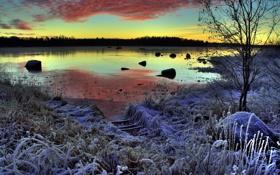 Обои зима, иней, пейзаж, закат, озеро