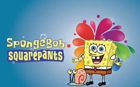 Обои Мультик, Пузыри, Синий фон, Sponge Bob, улитка, Губка Боб, Square Pants