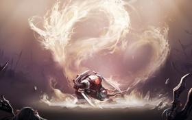 Картинка пламя, дракон, воин, панда, WoW, World of Warcraft, нежить