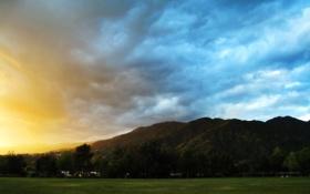 Картинка закат, облака, трава, небо, растительность, поле, зелень