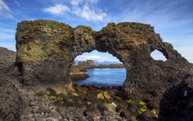 Картинка море, камни, берег, арка, Исландия
