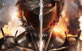 Обои огонь, сталь, меч, защита, маска, броня, Ниндзя