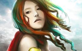 Обои взгляд, девушка, лицо, ветер, волосы