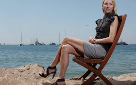 Картинка море, небо, модель, яхты, кресло, актриса, блондинка