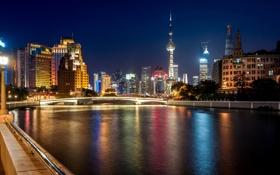 Картинка ночь, мост, город, огни, река, здания, дома