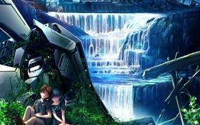 Картинка девушка, природа, робот, водопад, аниме, арт, парень