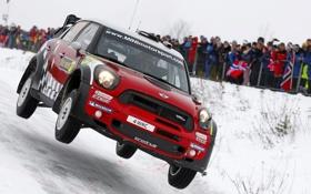 Обои Красный, Зима, Авто, Снег, Люди, Mini Cooper, WRC