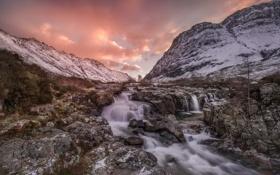 Картинка пейзаж, закат, горы, река