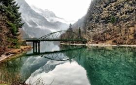Картинка горы, мост, озеро, отражение, Италия, Italy