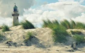 Обои песок, море, пляж, небо, облака, маяк, Германия