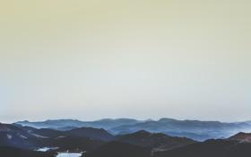 Обои горы, озеро, холмы, горизонт