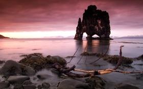 Картинка закат, пейзаж, скалы, небо, море