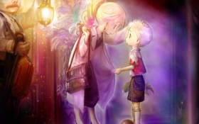Картинка вечер, аниме, семья, фонарик