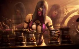 Обои грудь, девушка, игра, костюм, mortal kombat, mileena, fighting