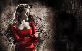 Обои пистолет, платье, девушка, красный