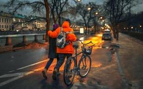 Обои Санкт-Петербург, велосипед, прогулка, пара