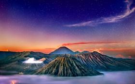 Обои небо, звезды, закат, горы, туман, вулкан, hdr
