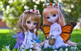 Обои девочки, куклы, крылья, фея, венок