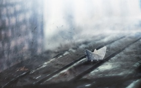 Картинка птицы, царапины, бумажный кораблик
