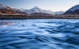Картинка небо, горы, озеро, новая зеландия, New Zealand