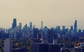 Картинка небоскребы, утро, Чикаго, USA, Chicago, мегаполис, illinois