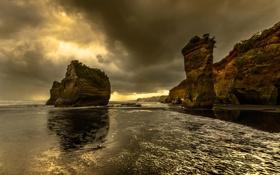 Картинка берег, небо, скалы, вечер, тучи, море