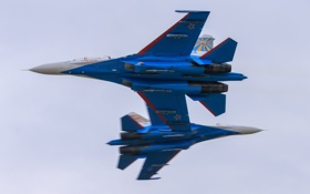Картинка истребители, полёт, Су-27, Русские Витязи