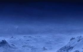 Обои маяк, путники, холод, туман, горы, арт, снег