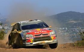 Обои Авто, Пыль, Поворот, Citroen, WRC, Rally, Передок