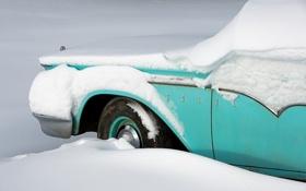 Обои зима, машина, снег, Ford
