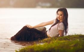 Картинка вода, девушка, река, дождь, азиатка