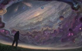 Обои поле, небо, трава, звезды, планеты, человек, галактика