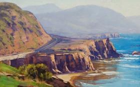 Обои пейзаж, побережье, artsaus, дорога, холмы, арт, море