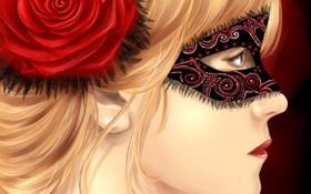 Обои маска, девушка, роза, профиль, лицо, красная, живопись