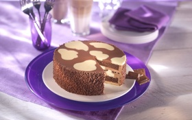 Обои еда, шоколад, тарелка, торт, десерт, вилки, Milka