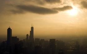 Обои небо, солнце, облака, city, город, здания, дома