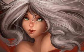 Картинка девушка, лицо, арт, белые волосы, прядь, SenRyuji