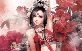 Картинка девушка, цветы, тату, пионы, фнтези