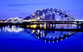 Обои Город, отражение, ночь, мост, огни