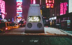 Обои стекло, капли, улица, Нью-Йорк, такси, Манхэттен, автомобили
