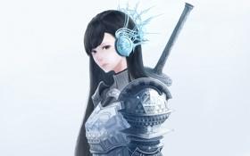 Картинка меч, девушка, рукоять, bou nin, наушники, доспехи, арт