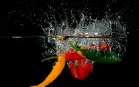 Картинка вода, брызги, еда, всплеск, перец, овощи