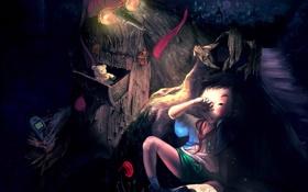 Обои ночь, фентези, сказка, книга