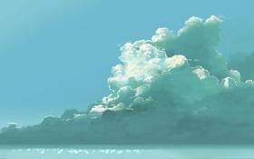 Обои арт, облака, небо, hatsuame syoka, море