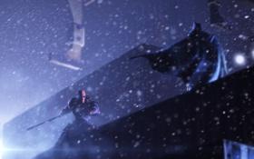Картинка зима, ночь, город, batman, arkham, deathstroke, Batman: Arkham Origins