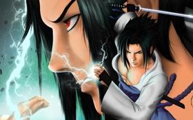 Картинка глаза, лицо, меч, парень, naruto, art, sharingan