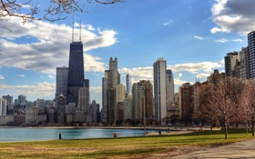 Обои Весна, Чикаго, Мичиган, Небоскребы, Здания, Америка, Иллинойс